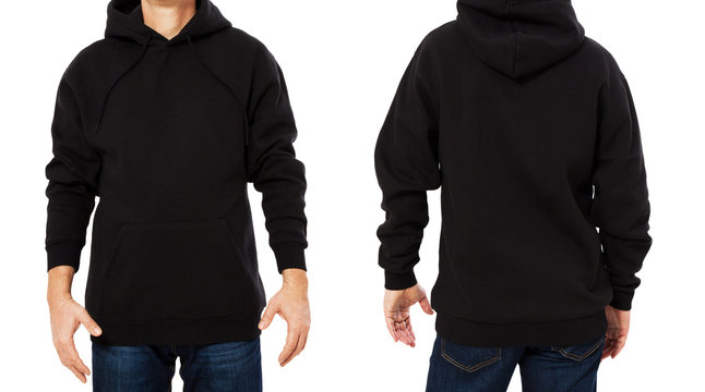 Black male sweatshirt set template isolated. Man sweatshirts set with mockup and copy space. Hoody design. Hoodie front and back view. Closeup