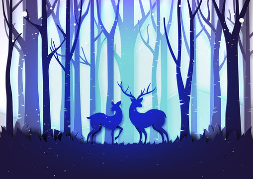 Winter season landscape and christmas day concept forest and deer wildlife on purple color background paper art style.Vector illustration.