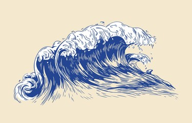 Elegant colored drawing of sea or ocean wave with foaming crest isolated on light background. Oceanic tide, wash or swash. Seawater or saltwater. Realistic vector illustration in vintage style.