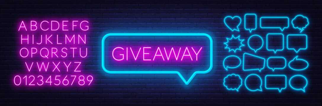 Neon sign giveaway . Set of neon speech bubbles and the alphabet on a dark background. Template for design.