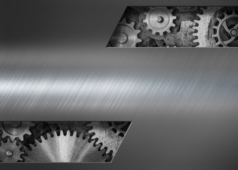 Steam punk metal background with gears and cogs 3d illustration