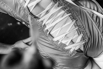 Corset lacing, detail, close-up, black and white