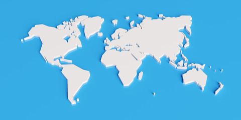 simplified map of the world, stylized 3d render illustration
