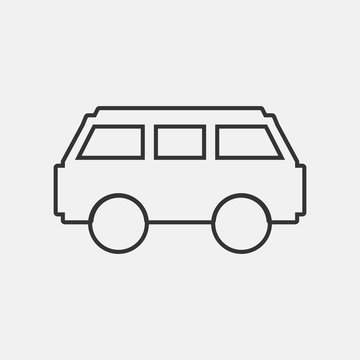 Min bus vector icon illustration sign
