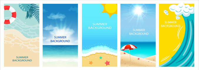 Vector set of social media stories design templates, backgrounds with copy space for text - summer landscape - background for banner, greeting card, poster and advertising - summer vacation concept.  Wall mural