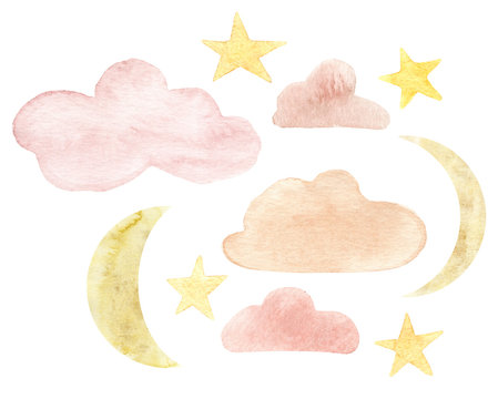 Hand painted watercolor gold moon, clouds and stars. Magic design decor printing on textiles
