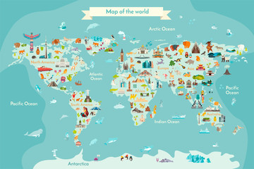 Fototapete - World travel map with landmarks, animals and sight of country. Vector Illustration