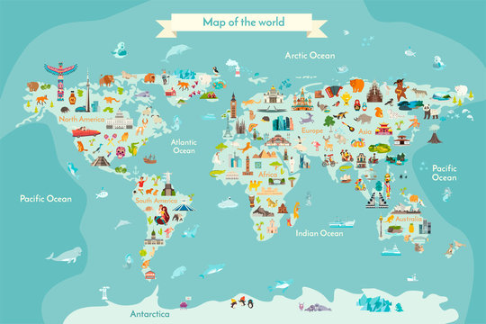World travel map with landmarks, animals and sight of country. Vector Illustration