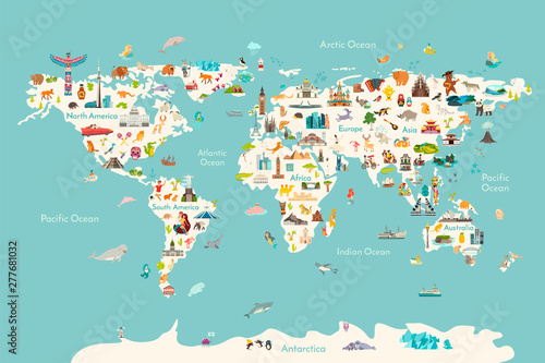 Fototapete World map vector illustration. Landmarks, sight and animals hand draw icon. World vector poster for children, cute illustrated. Travel concept card
