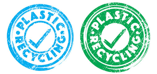 Plastic recycling stamps in cyan blue and green colors. Grunge texture. Vector illustration.