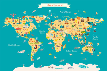 Fototapete - World map vector illustration with landmarks. Travel map with landmarks, animals and sight of country.