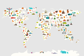 Landmarks world map vector cartoon illustration. Cartoon globe vector illustration. Oceans and continent: South America, Eurasia, North America, Africa, Australia