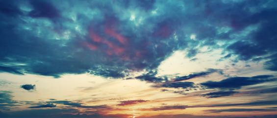 Sunset sky panoramic background.