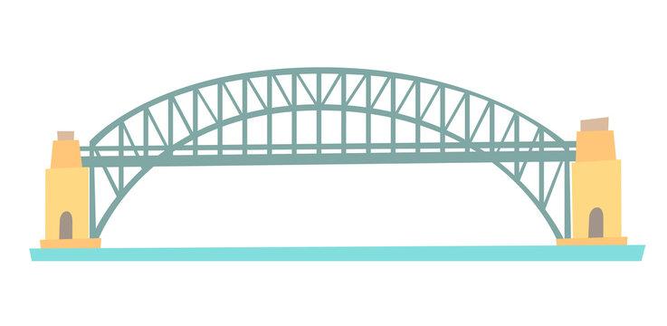 Sydney Harbour bridge vector illustration. Harbour bridge flat cartoon style icon isolated on white background