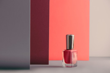 nail polish bottle, living coral colors.