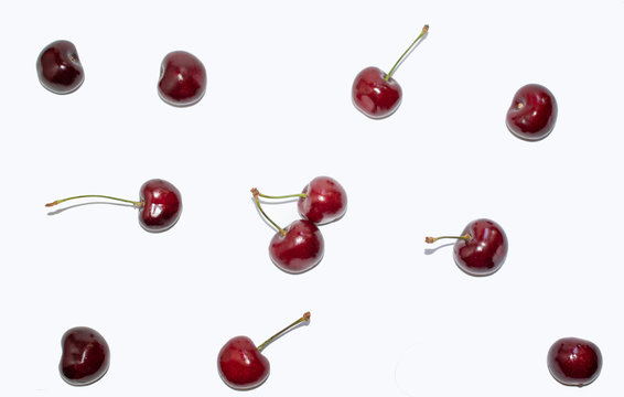 Red sweet cherry isolated on white background 1
