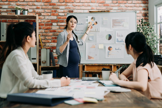 elegant pregnant businesswoman leads boardroom meeting. young motherhood lady manager standing at white board giving presentation to employees sitting at desk. colleagues concentrated listening.