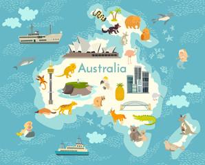 Fototapete - Australia continent, world vector map with landmarks cartoon illustration