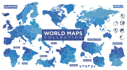 World map with countries Fototapete