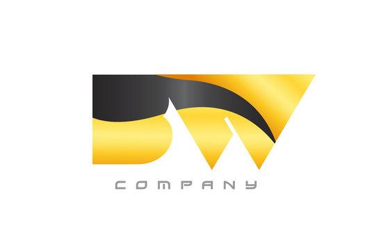 BW B W yellow black combination alphabet letter logo icon design