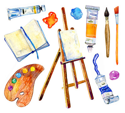 Artist materials - easel, palette, notepad, brushes and tubes. Hand drawn sketch watercolor illustration set