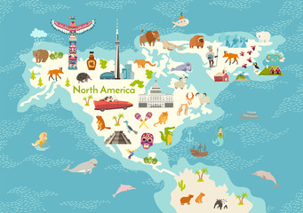 Fototapete - North America, world map with landmarks vector cartoon illustration. Abstract North America landmarks, animals, sign and icon cartoon style. Poster, art, travel card