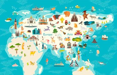 Animals world map, Eurasia. Vector illustration, preschool, baby, continents, oceans, drawn, Earth