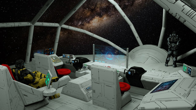 3D illustration of a spaceship, commander's bridge . 3d render.