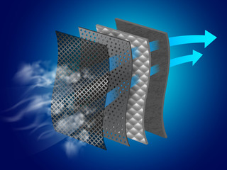 Fototapeta Dust filter layer Smoke and dirt With special material layers Helps in air purification Vector realistic file.