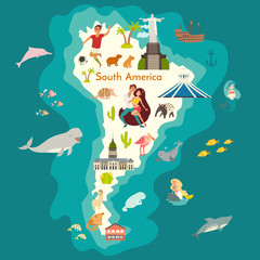 Fototapete - Animals world map, South America with landmarks. South America colorful cartoon vector illustration for children and kids. Preschool, education, baby, continents, oceans, drawn, Earth