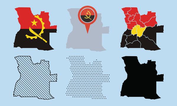 Angola Map Vector Set