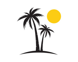 palm tree summer logo template illustration