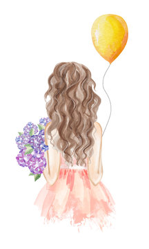 Girl holding bouquet of hydrangea and balloon. Hand drawn watercolor illustration