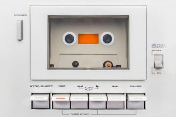 Close up of a vintage audio cassette player