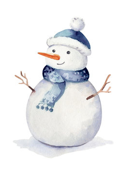 Christmas watercolor Winter holidays isolated illustration. Holiday design with snowman. Happy New year greeting card