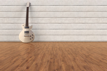 3D rendering of an electric Guitar in an empty room