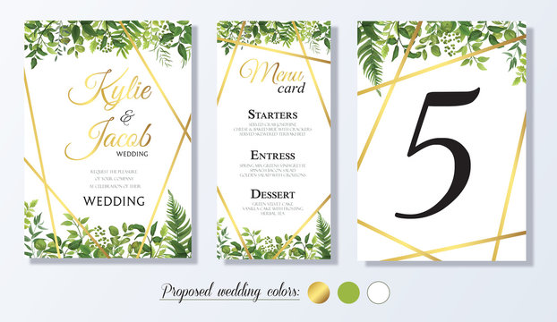 Wedding Invitation with gold element, menu card, table number Floral design with green watercolor leaves, foliage greenery decorative frame print. Vector elegant cute rustic greeting, invite, postcard