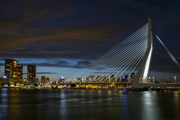 Foto auf Gartenposter Schwan A view of the Erasmus Bridge over the the Nieuwe Maas (New Meuse) River . Cityscape at night. Rotterdam, The Netherlands.