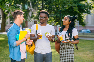 Group of three serious multiethnic students people coworkers talking, sharing ideas during lunch break standing outdoor university campus with books and backpacks. University education concept