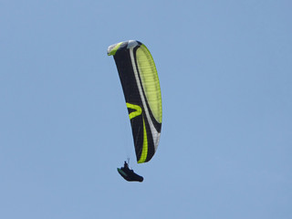 Fototapete - paraglider flying yellow and black wing