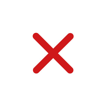 red cross mark icon template color editable. Symbol No or X button for correct, vote, check, not approved, error, wrong and failed decision. vector sign isolated on white background