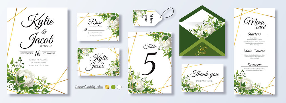 Wedding Invitation, menu, rsvp, label, table number, envelope. Floral design green watercolor fern leaves, foliage greenery decorative frame print. Vector elegant cute rustic greeting, invite postcard
