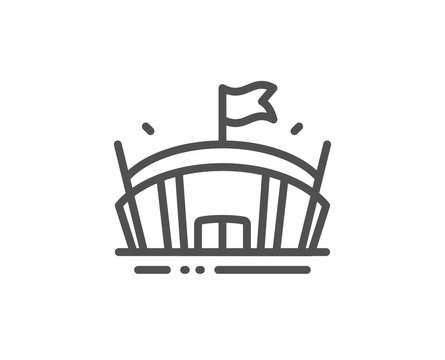 Sports stadium line icon. Arena with flag sign. Sport complex symbol. Quality design element. Linear style arena icon. Editable stroke. Vector