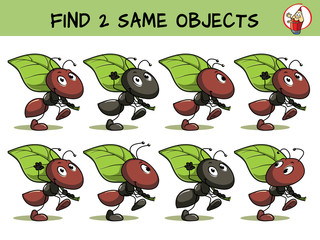 Funny ant is carrying a leaf. Find two same pictures. Educational game for children. Cartoon vector illustration