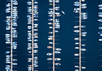Fototapeta Aerial of boats in a European harbour