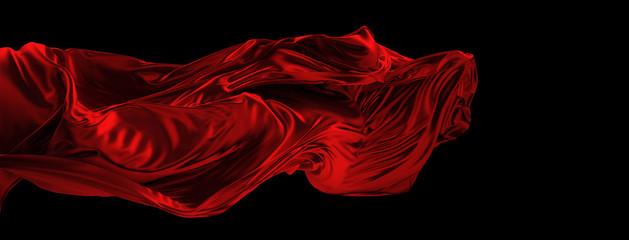 Fototapeta Fliegender roter Stoff aus Seide obraz