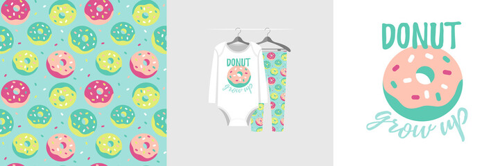 Wall Mural - Seamless pattern and illustration for kid with sweet quote Donut grow up. Cute design pajamas on hanger. Baby background for clothes, birthday decor, t-shirt print, wear fashion, invitation card