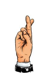 Geschäftsmann kreuzt seine Finger