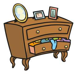 Braune Holz Kommode die mit Wäsche überquillt