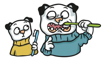 Mops Vater zeigt Kind wie man sich die Zähne putzt
